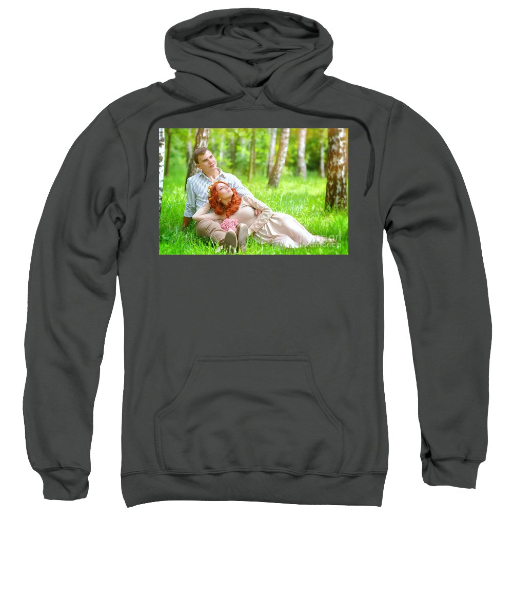 Adult Sweatshirt featuring the photograph Young Couple In The Park by Anna Om