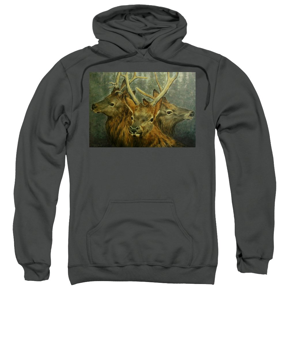Elk Sweatshirt featuring the painting Young Elk Trio- Wapiti by Elaine Booth-Kallweit