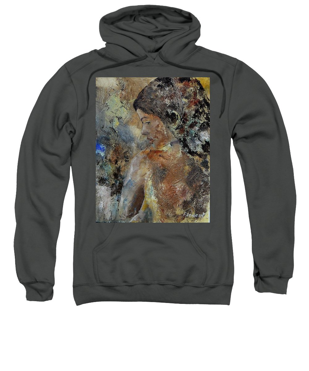 Girl Sweatshirt featuring the painting Young Girl 45156987 by Pol Ledent