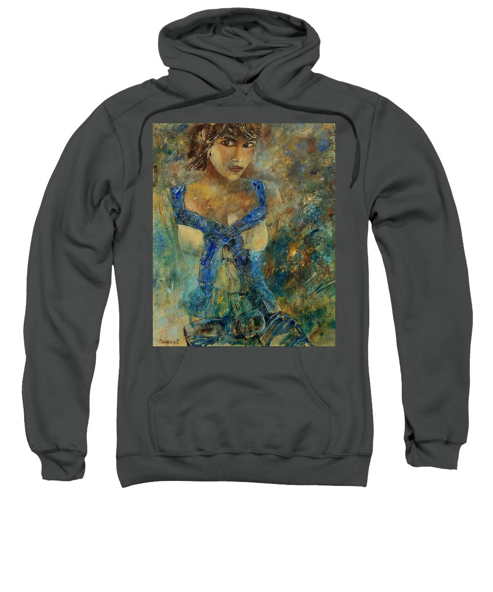 Girl Sweatshirt featuring the painting Young Lady 5698 by Pol Ledent