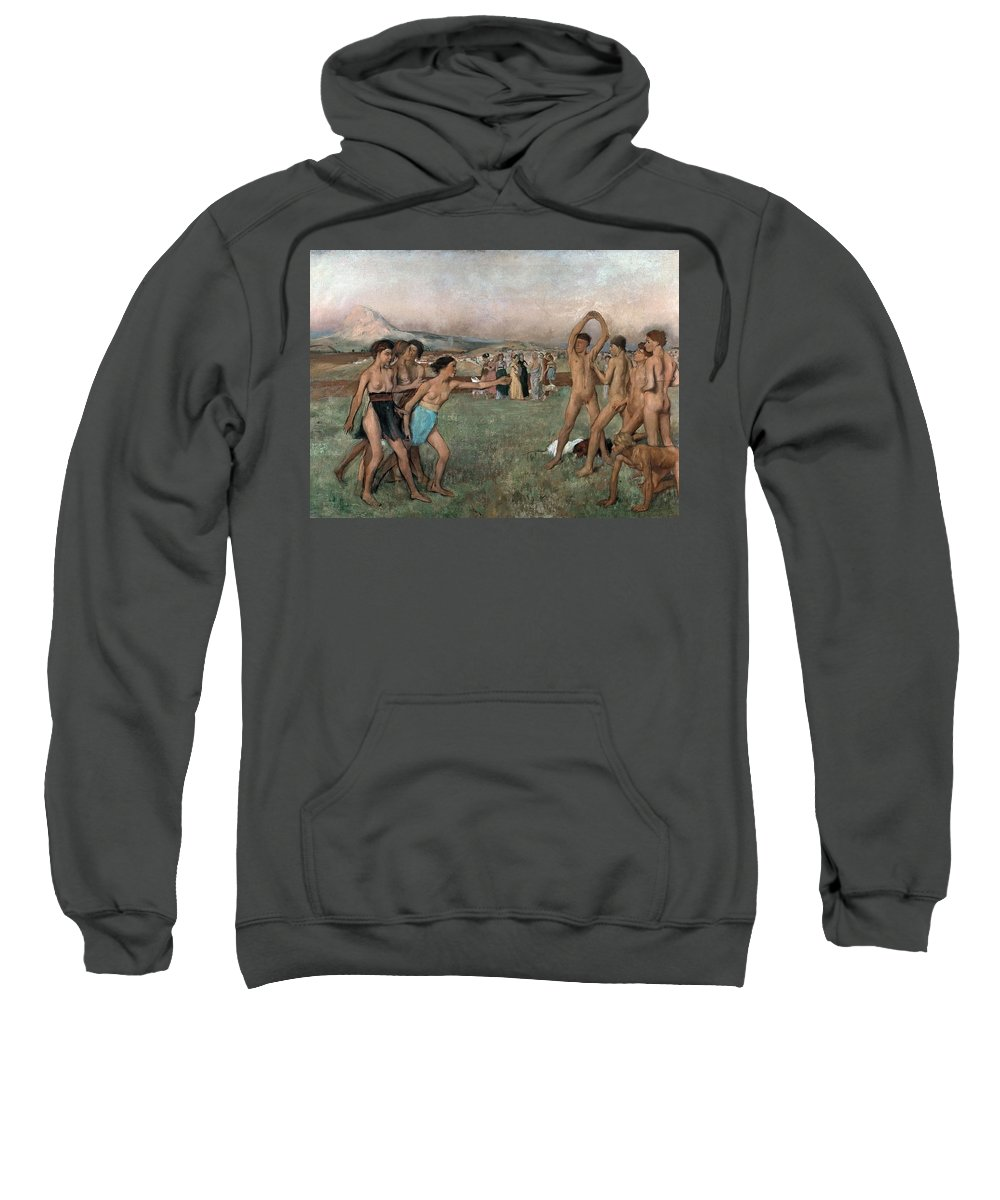 Young Spartans Exercising Sweatshirt featuring the painting Young Spartans Exercising by Edgar Degas