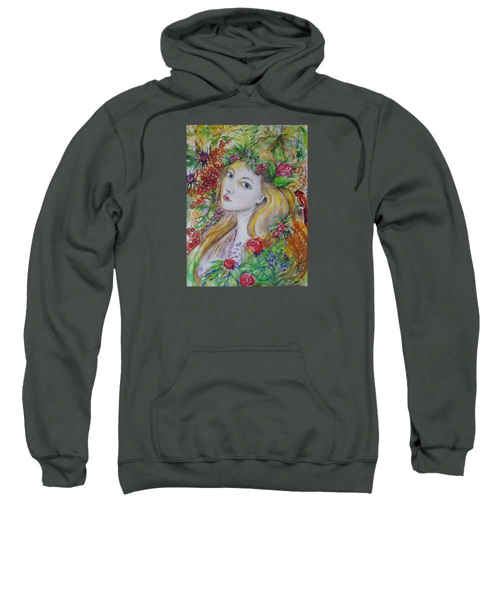 Girl Sweatshirt featuring the painting Young Summer by Rita Fetisov