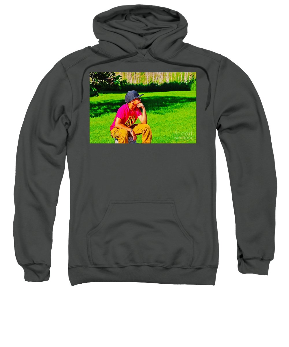 Young Sweatshirt featuring the photograph Young Thinker by Don Baker
