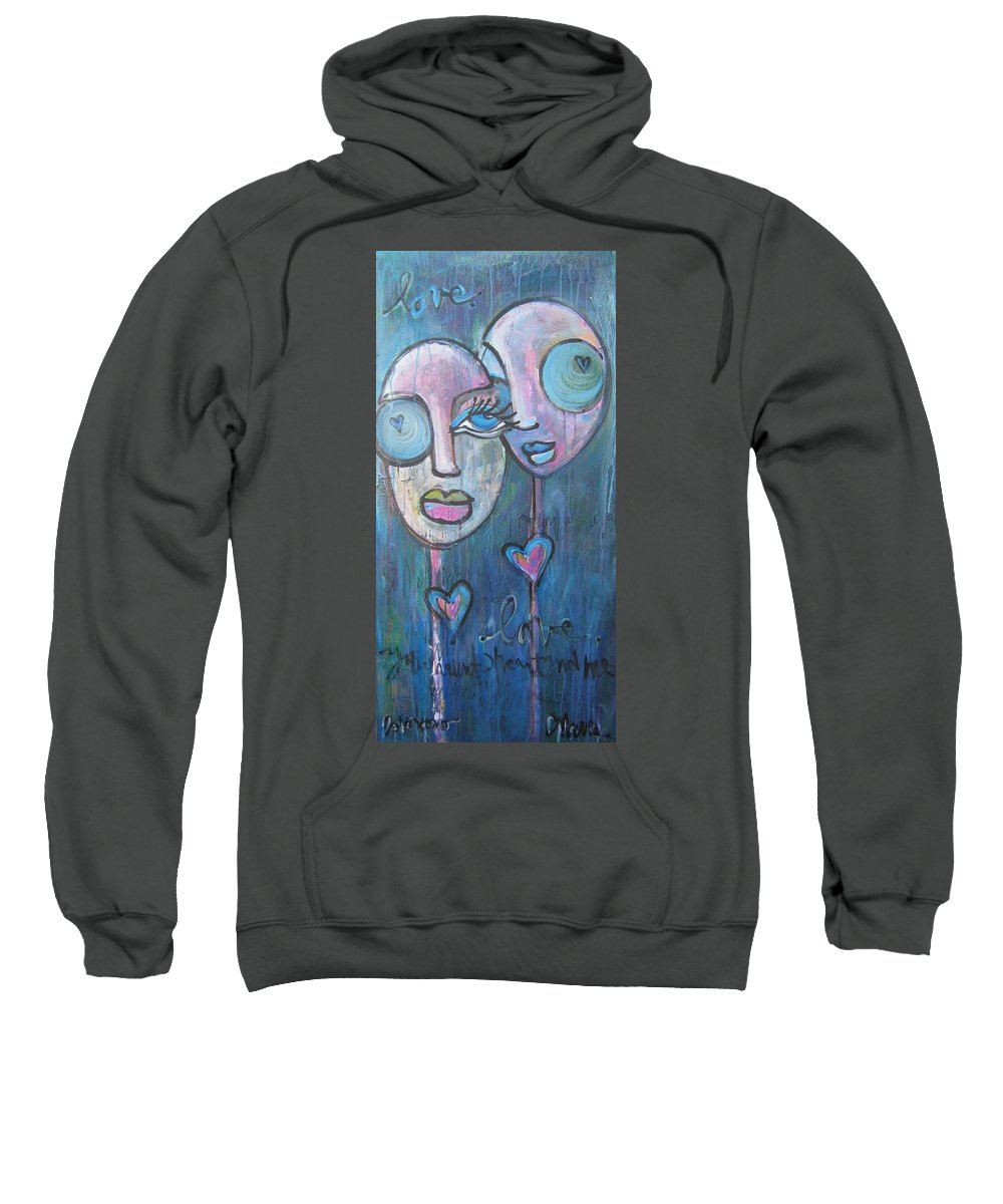 Blue Sweatshirt featuring the painting Your Haunted Heart And Me by Laurie Maves ART