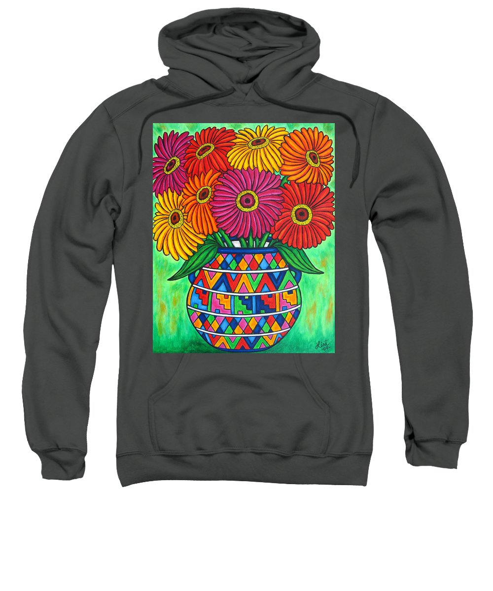 Zinnia Sweatshirt featuring the painting Zinnia Fiesta by Lisa Lorenz