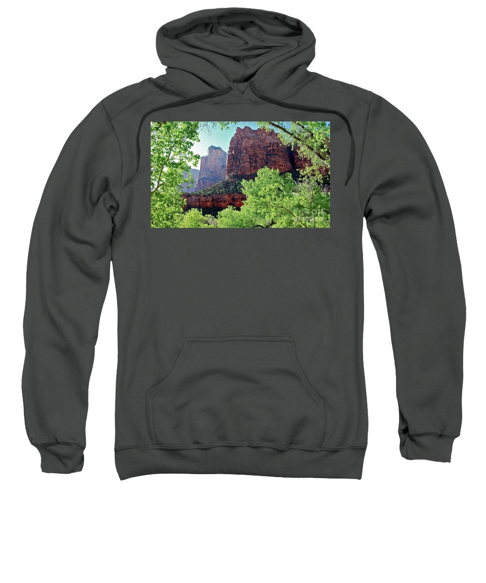 Zion National Park Sweatshirt featuring the photograph Zion Canyon Red Cliffs by Bruce Chevillat