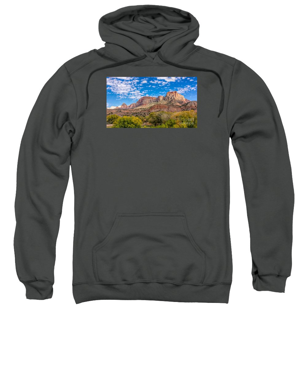 Zion Sweatshirt featuring the photograph Zion Panoramic Coudy Sky by Randy Jacobs