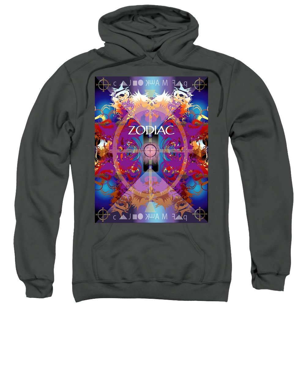Abstaract Sweatshirt featuring the digital art Zodiac 2 by George Pasini