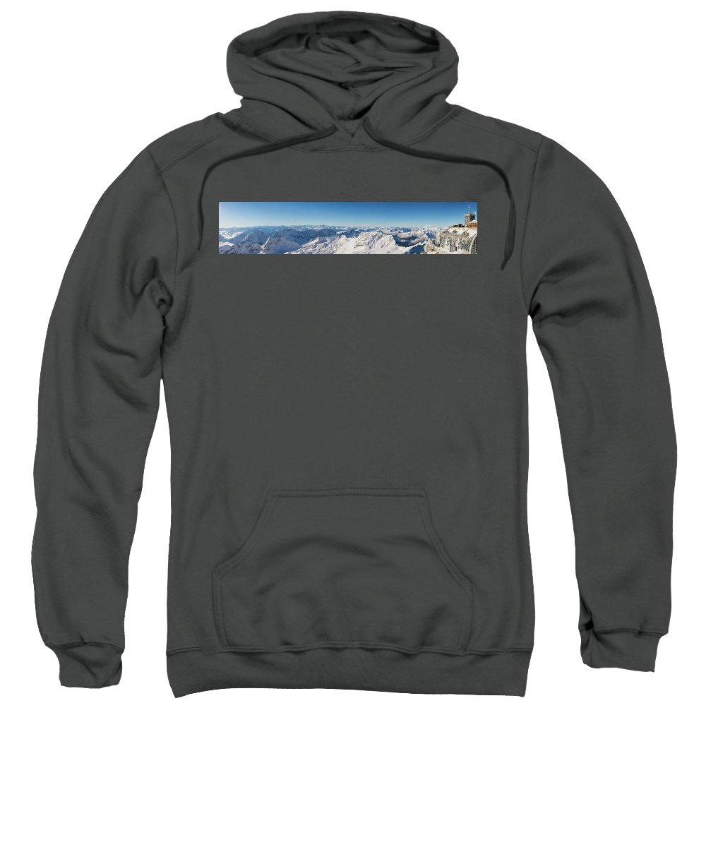 Zugspitze Sweatshirt featuring the photograph Zugspitze Observatory Panorama by Benjamin Reed