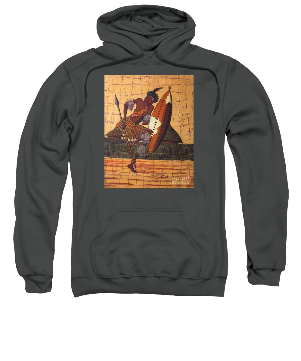 African Sweatshirt featuring the painting Zulu Warrior by Peter Chikwondi