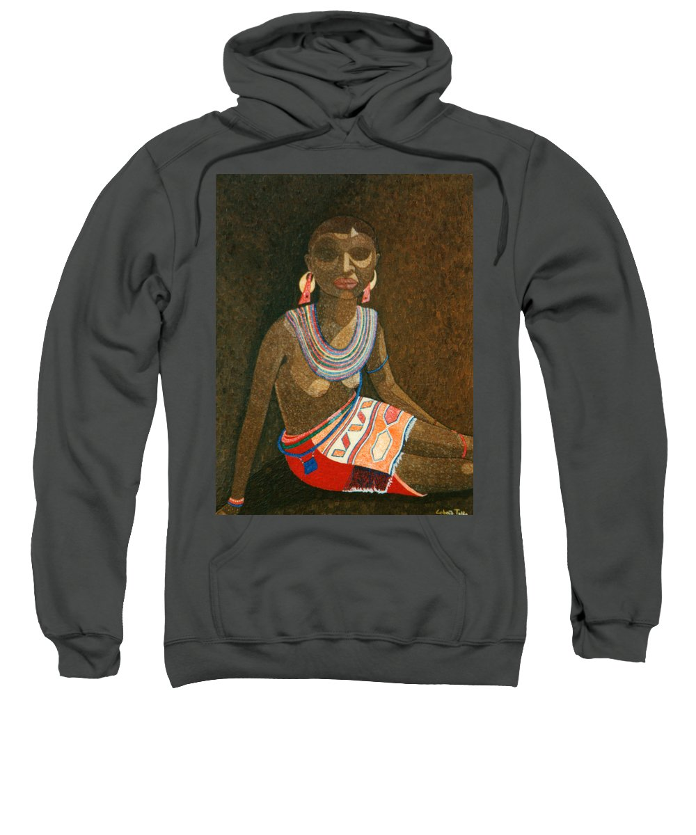 Zulu Woman Sweatshirt featuring the painting Zulu Woman With Beads by Madalena Lobao-Tello