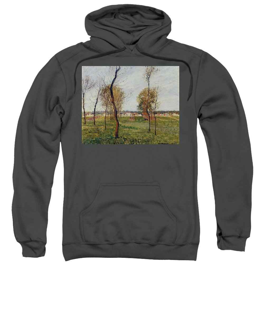 Camille Pissarro Sweatshirt featuring the painting A Meadow In Eragny, 1889 by Camille Pissarro