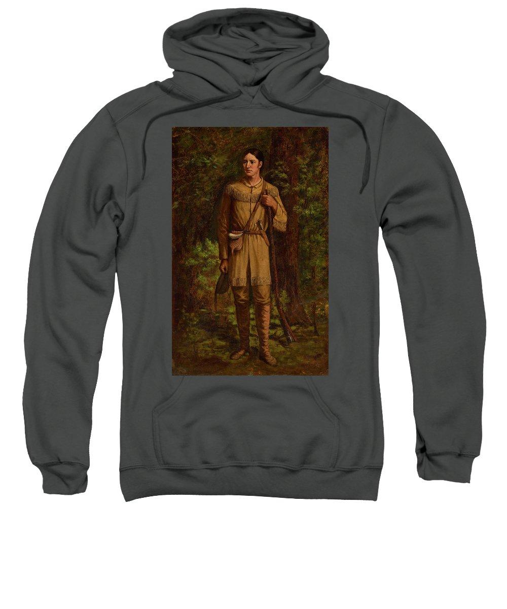 Davy Crockett Sweatshirt featuring the painting Davy Crockett by William Henry Huddle