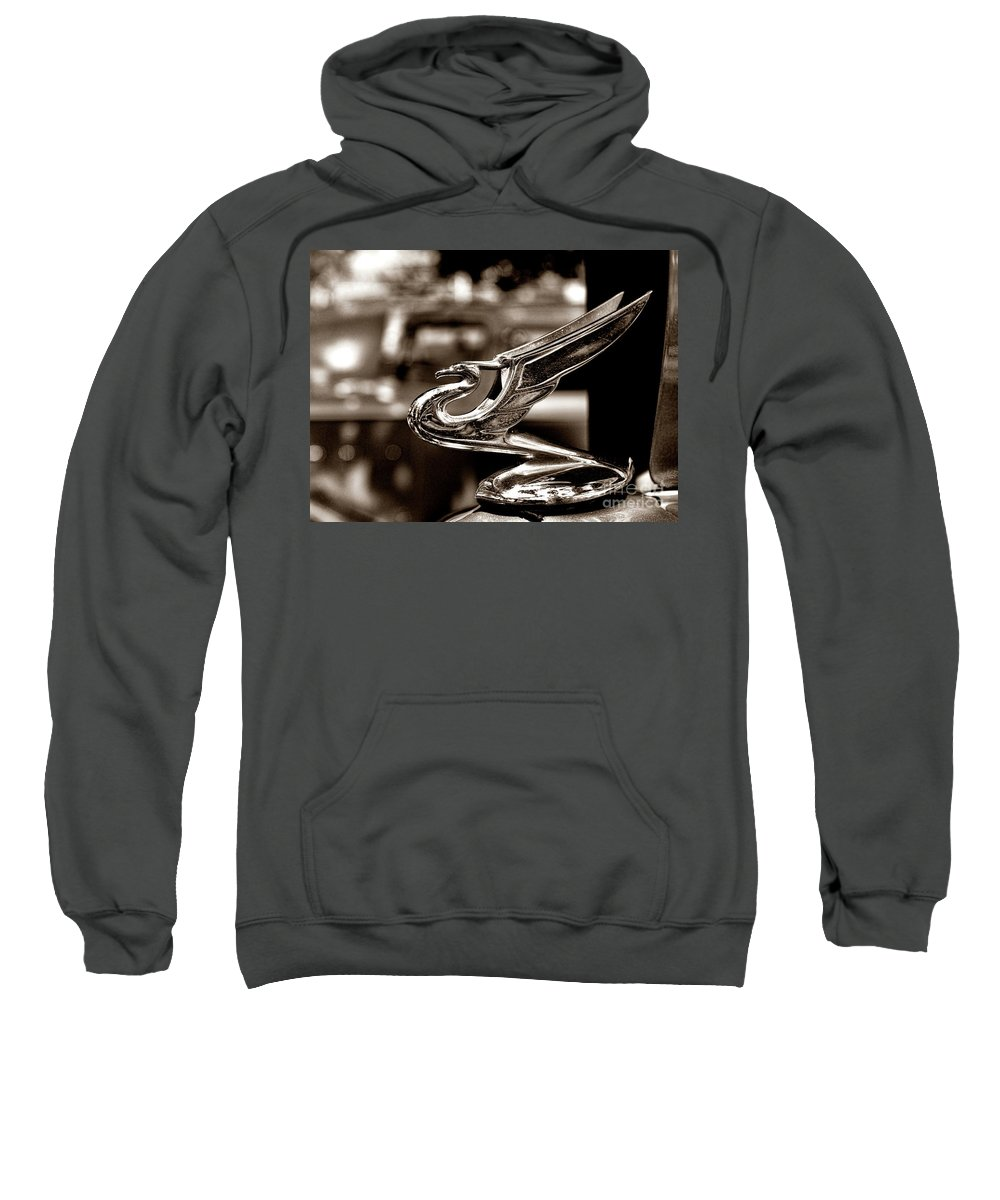 Paul Ward Sweatshirt featuring the photograph 1934 Chevrolet Flying Eagle Hood Ornament Retro by Paul Ward