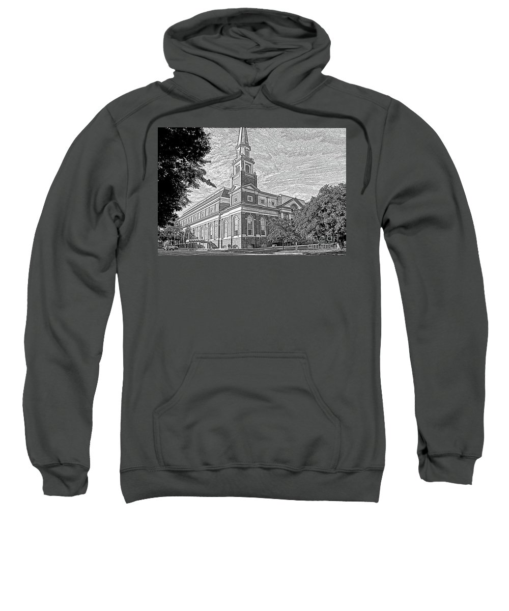 First Baptist Church Sweatshirt featuring the mixed media First Baptist Church Columbia by Bob Pardue