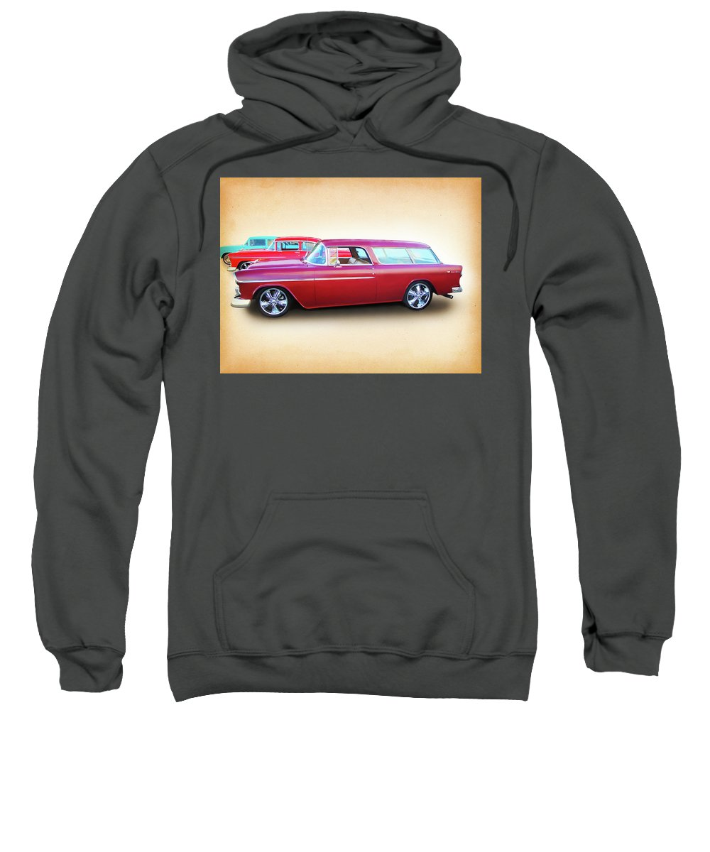 1955 Chevy Sweatshirt featuring the digital art 3 - 1955 Chevy's by Rick Wicker