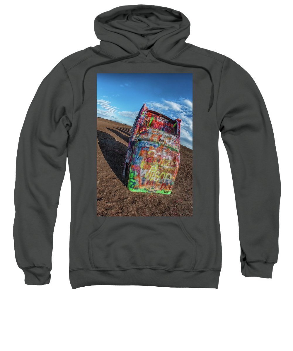 Cadillac Ranch Amarillo Route 66 Texas Sweatshirt featuring the photograph Cadillac Ranch by Kirk Cypel