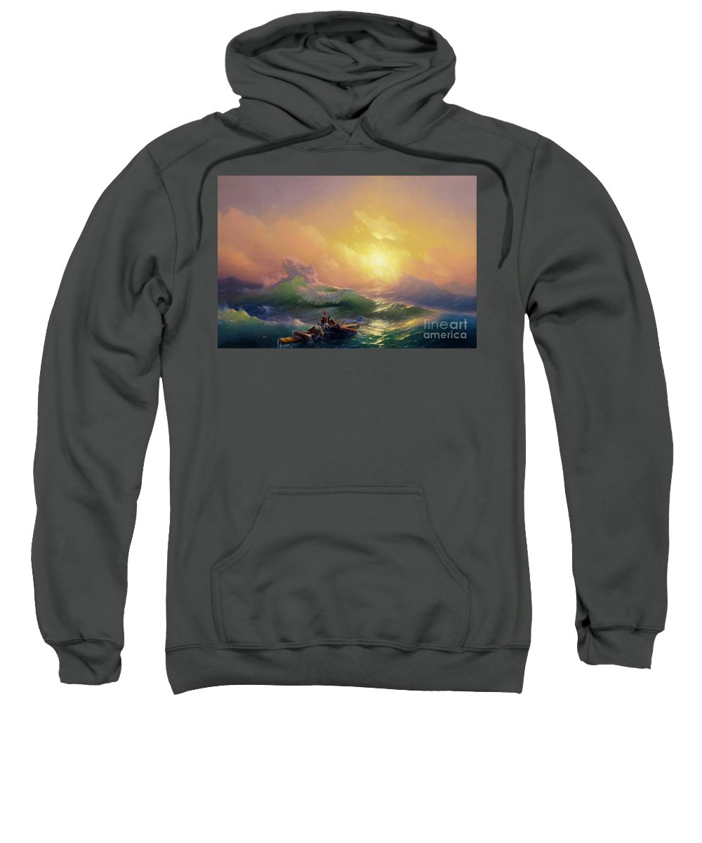 1850 Sweatshirt featuring the photograph The Ninth Wave by Peter Barritt