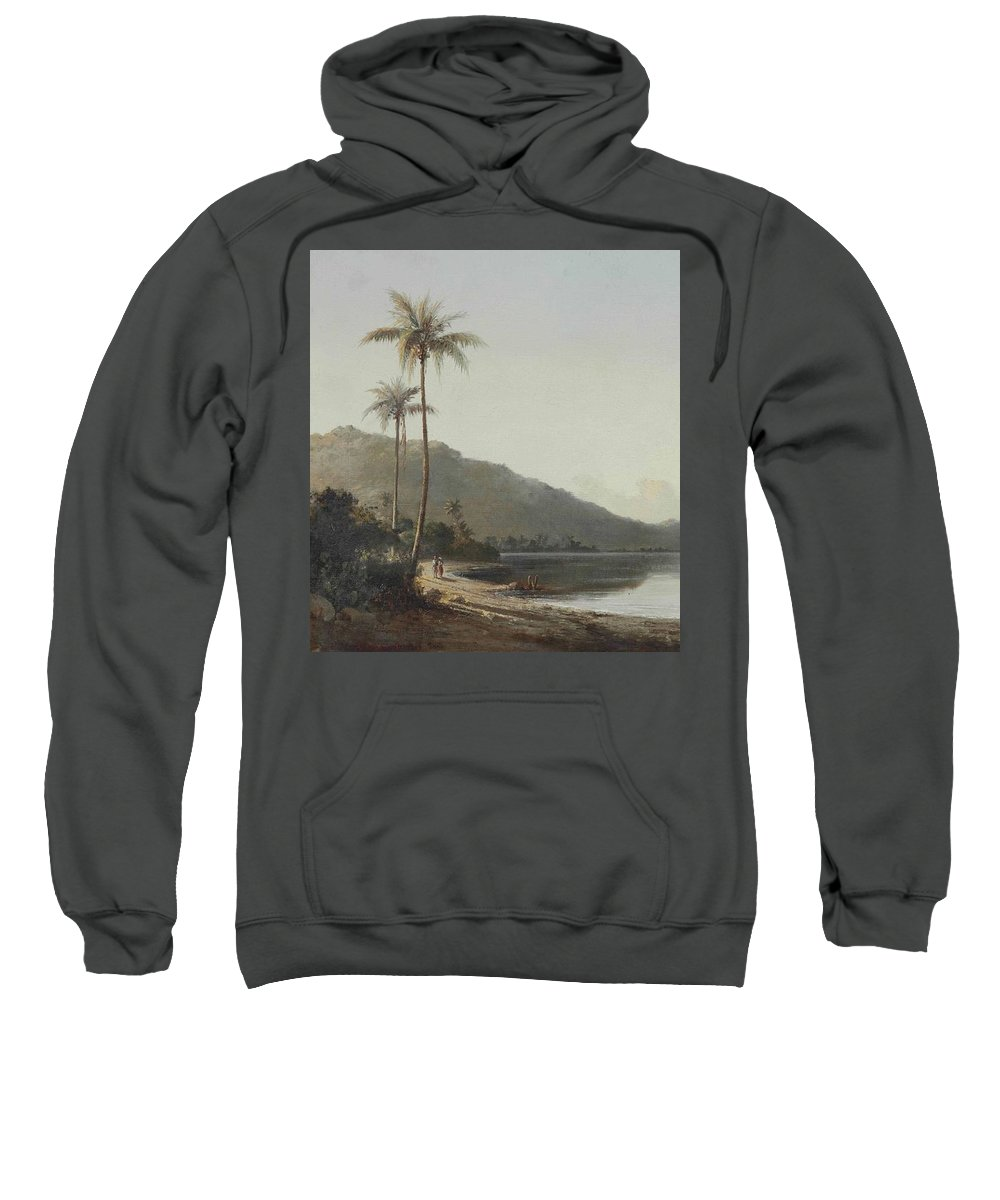 Camille Pissarro Sweatshirt featuring the painting A Creek In Saint Thomas, Antilles, 1856 by Camille Pissarro