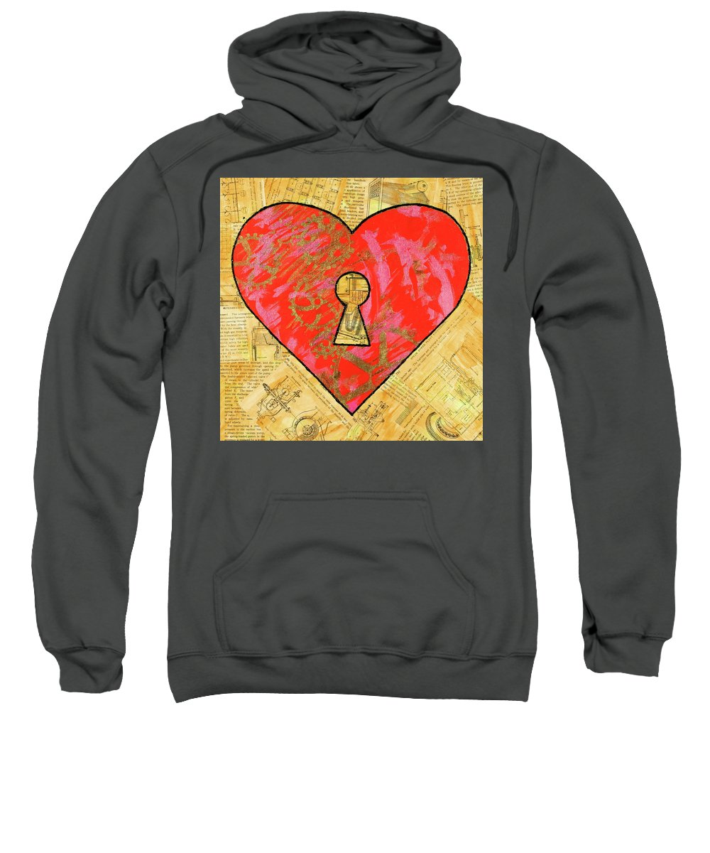 Heart Sweatshirt featuring the painting A Steamy Romance by Julianne Hunter