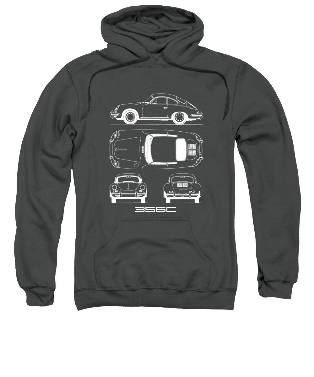 Porsche Sweatshirt featuring the photograph Porsche 356 C Blueprint by Mark Rogan