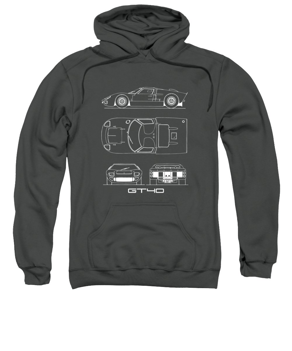 Ford Gt40 Sweatshirt featuring the photograph The Gt40 Blueprint by Mark Rogan