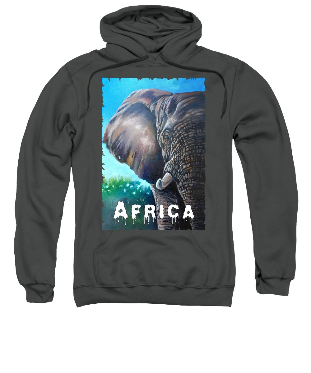 Print Sweatshirt featuring the painting Big Ear by Anthony Mwangi