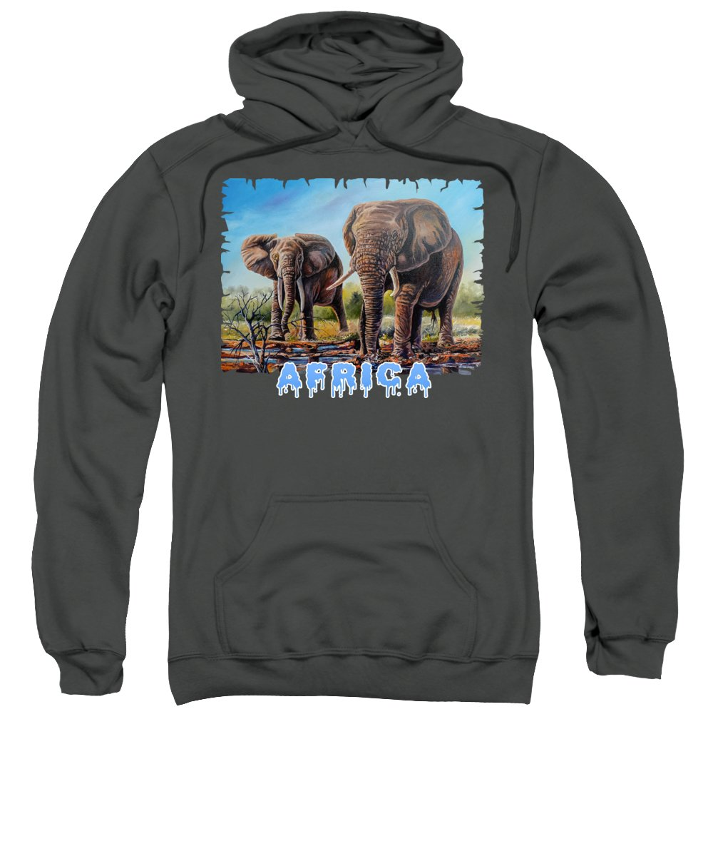 Picture Sweatshirt featuring the painting Arriving At The Muddy Pool by Anthony Mwangi