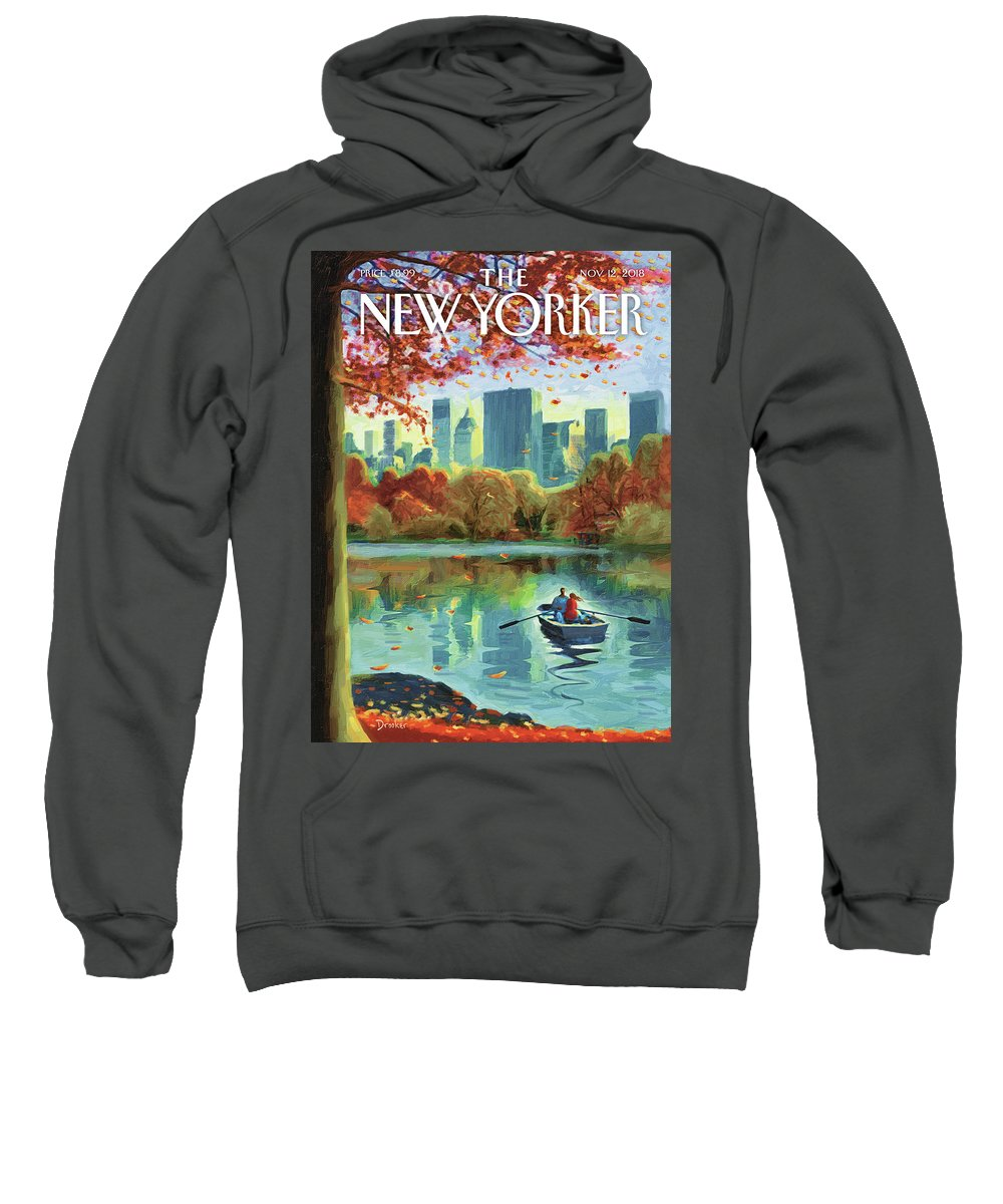Autumn Central Park Sweatshirt featuring the drawing Autumn Central Park by Eric Drooker