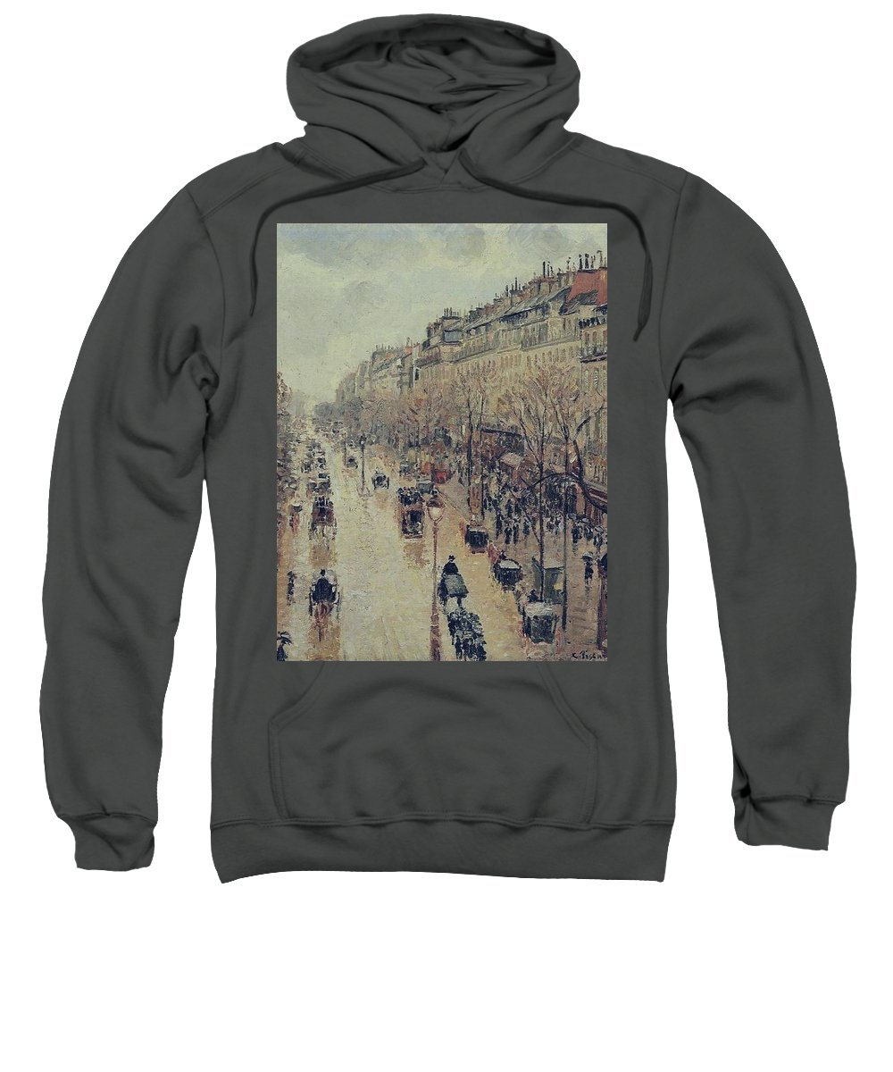 Camille Pissarro Sweatshirt featuring the painting Boulevard Montmartre - Afternoon, In The Rain, 1897 by Camille Pissarro