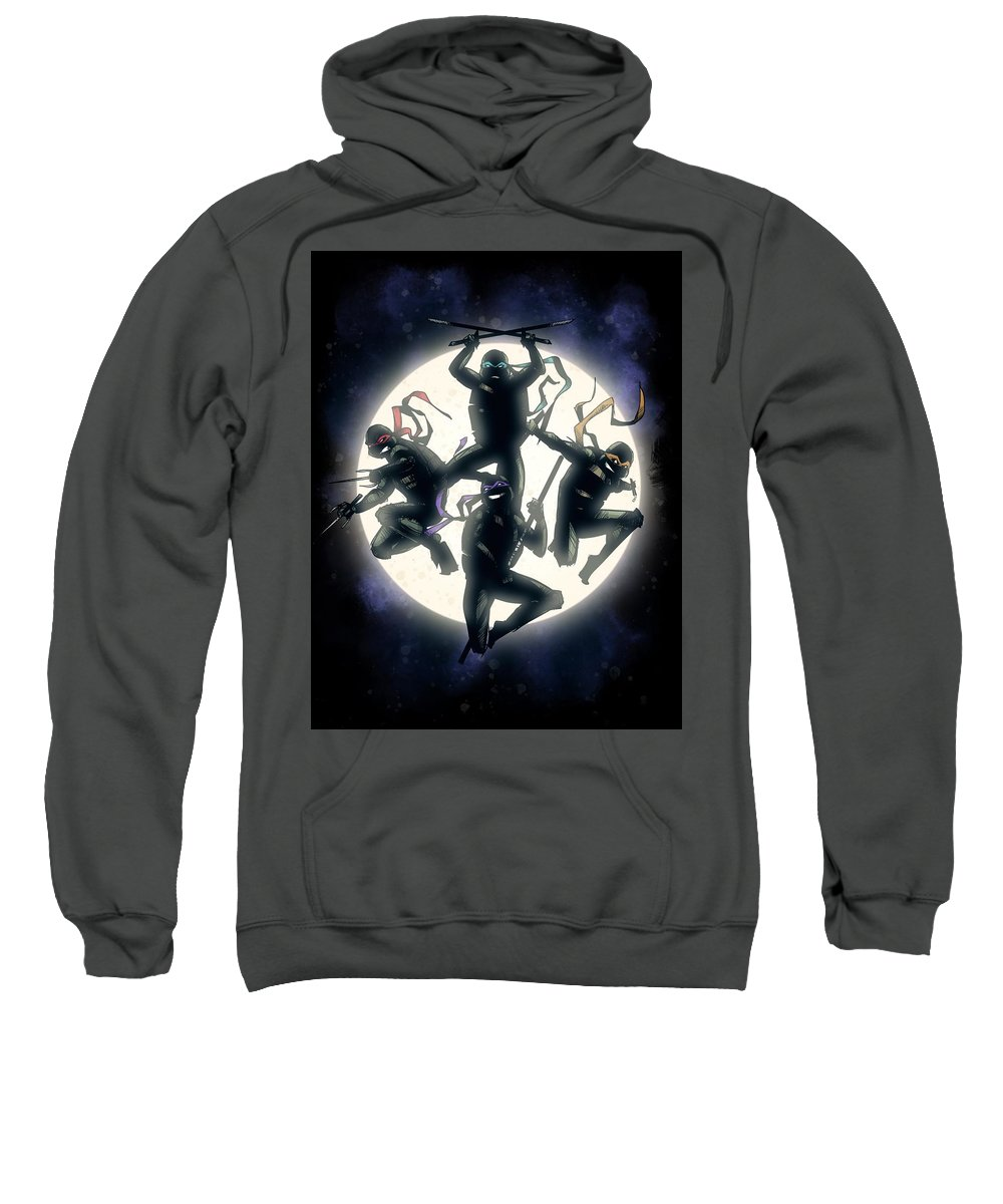Tmnt Sweatshirt featuring the drawing Cowabunga by Ludwig Van Bacon