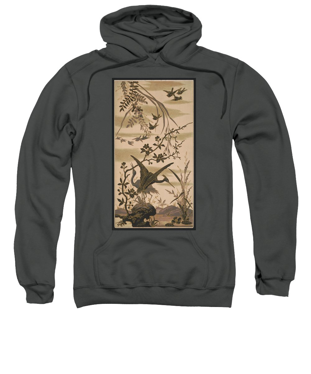 Crane Sweatshirt featuring the pyrography Cranes And Birds At Pond 1880 by Daniel Hagerman