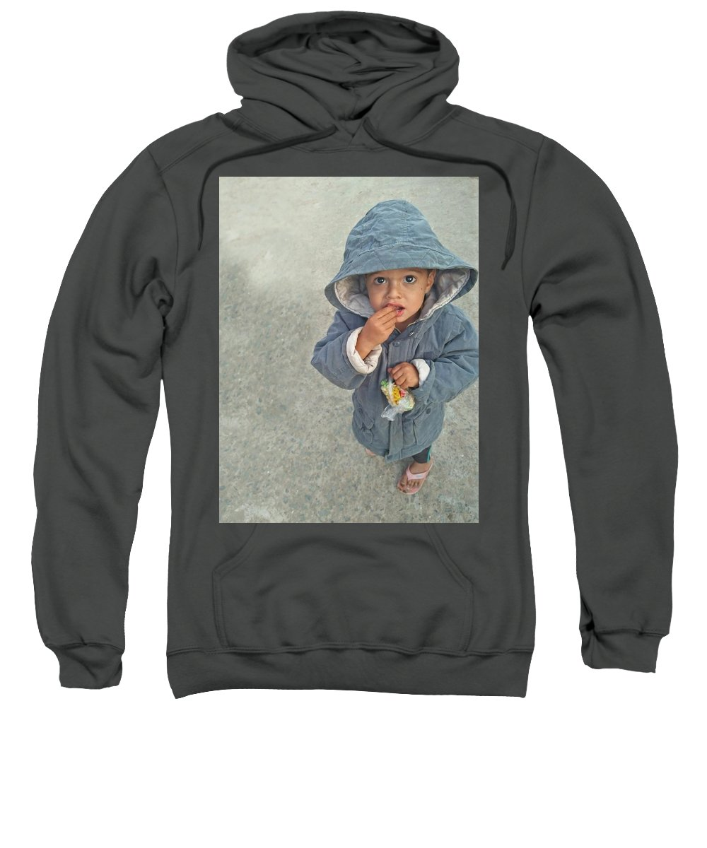 Cute Sweatshirt featuring the photograph Cute Baby by Imran Khan