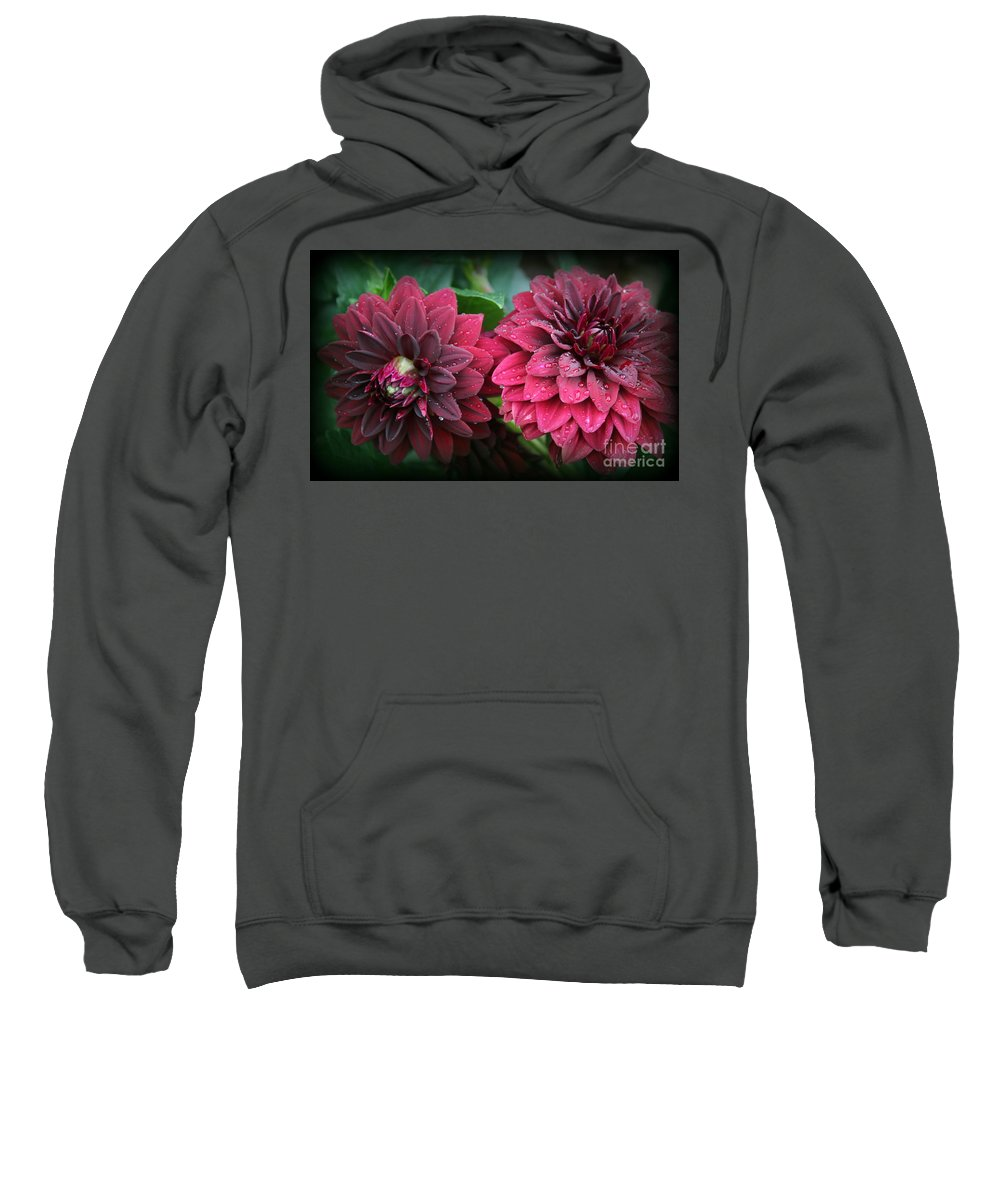 Makro Sweatshirt featuring the photograph Dahlias In Crimson Red by Dora Sofia Caputo Photographic Design and Fine Art