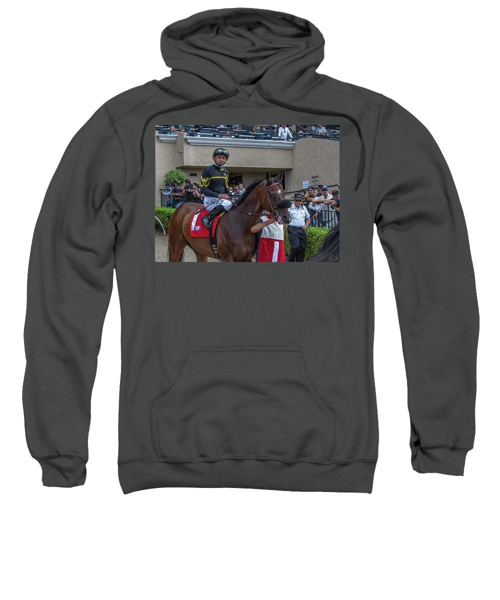 Del Mar Race Track Jockey Horse Race Thoroughbred Sweatshirt featuring the photograph Del Mar by Kirk Cypel