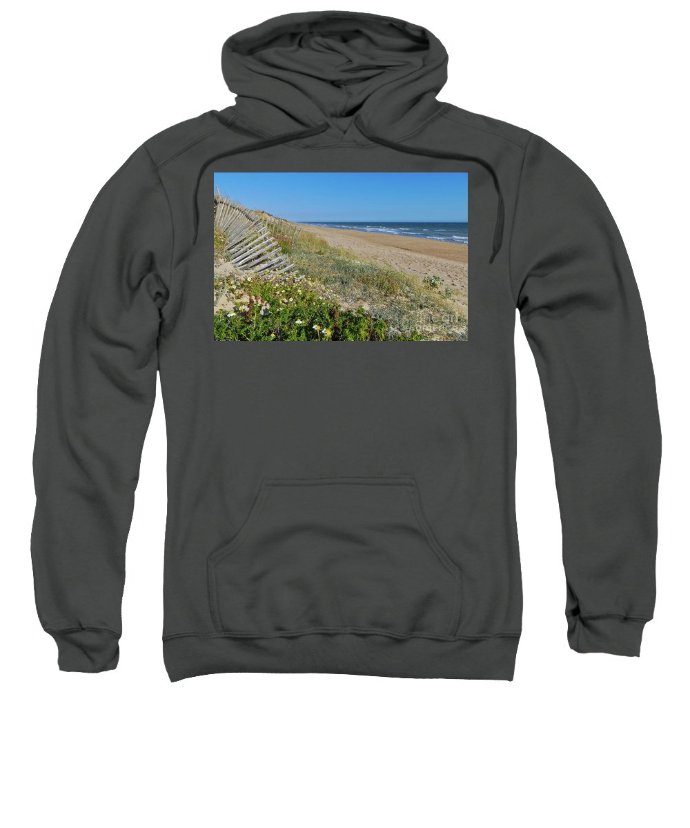 Sea Sweatshirt featuring the photograph Dunes Wooden Fence by Angelo DeVal