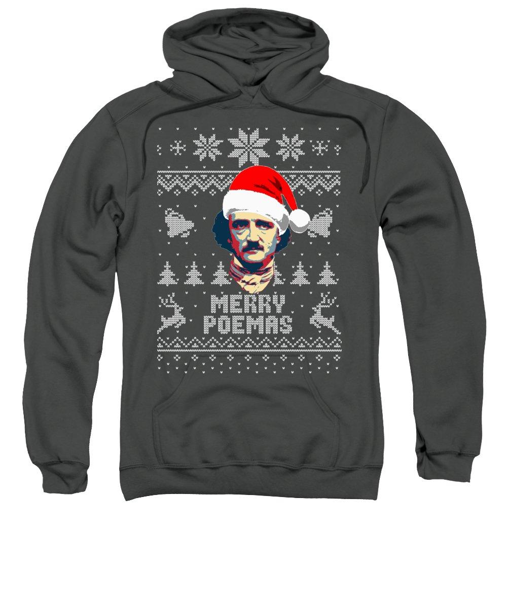 Santa Sweatshirt featuring the digital art Edgar Allan Poe Merry Poemas by Filip Schpindel