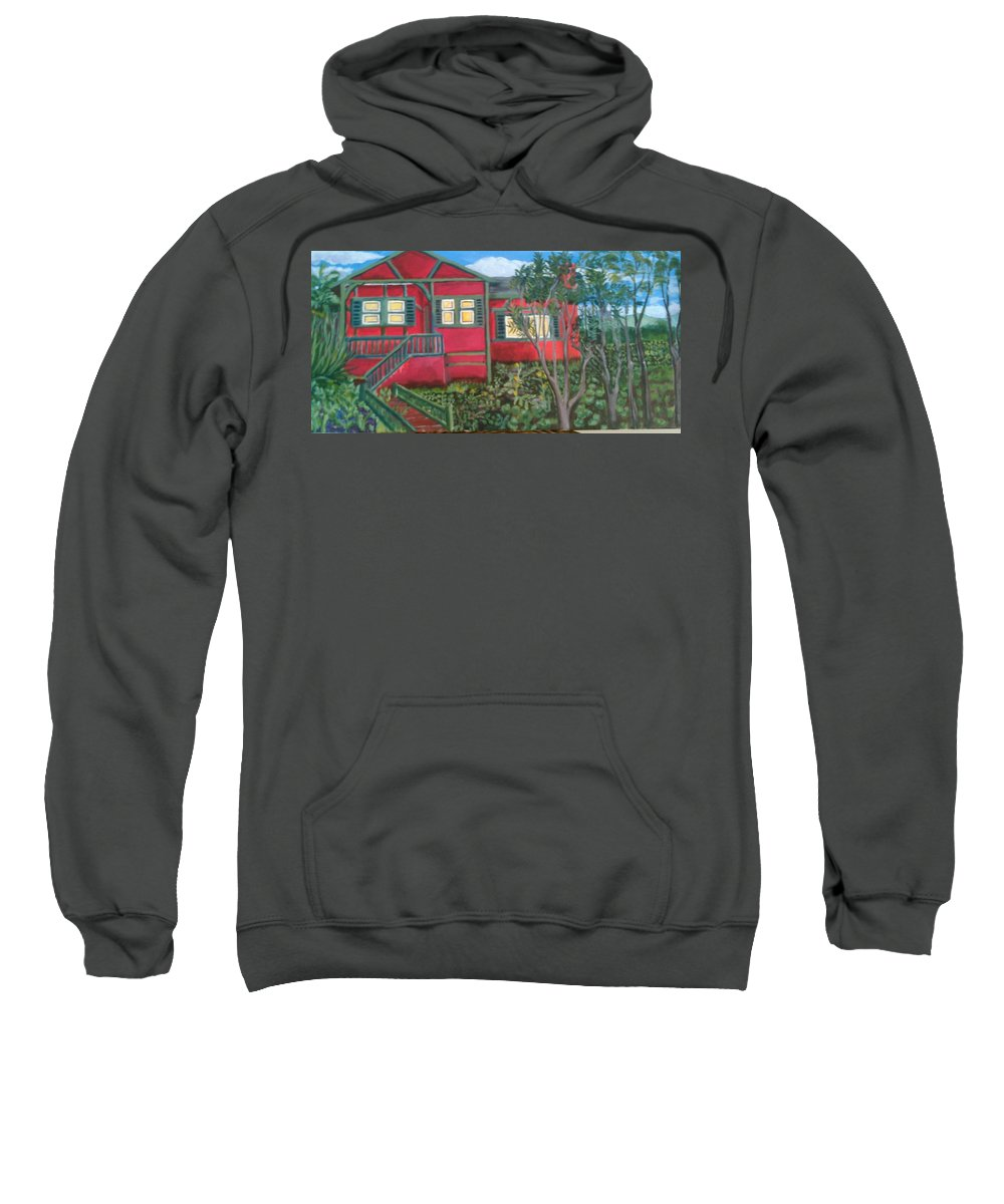 Painting Of House Sweatshirt featuring the painting Fresh yard by Andrew Johnson