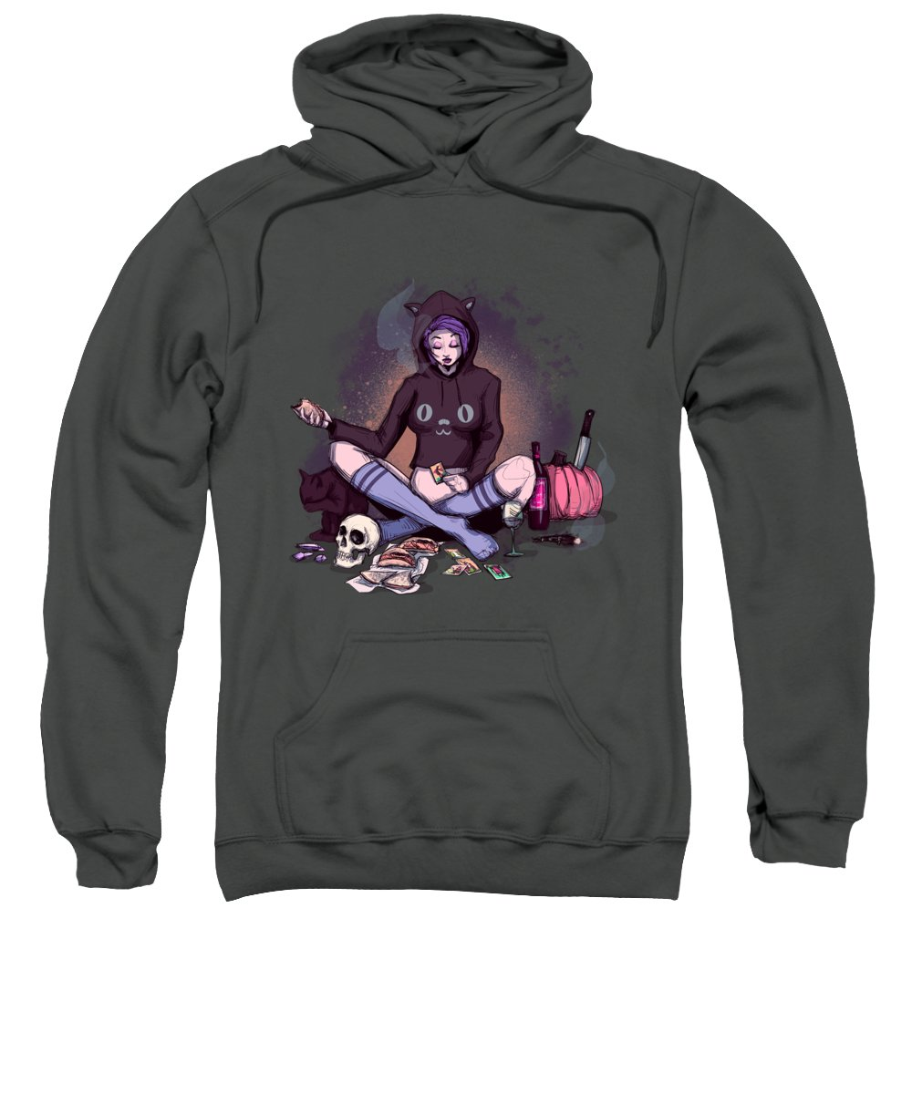 Witch Sweatshirt featuring the drawing Friday Night by Ludwig Van Bacon