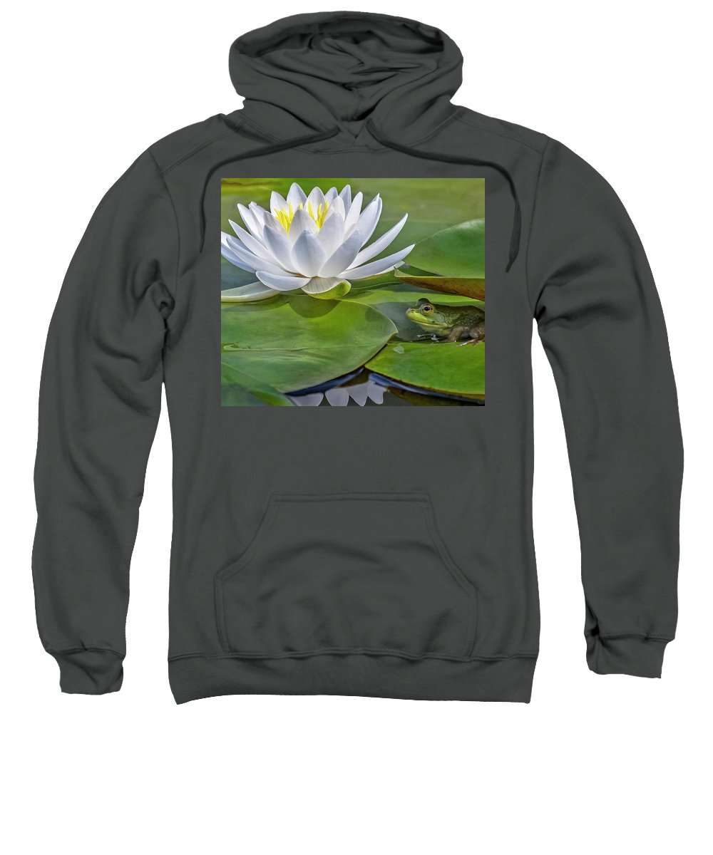 Frog Sweatshirt featuring the photograph Frog And Lily by Elaine Somers
