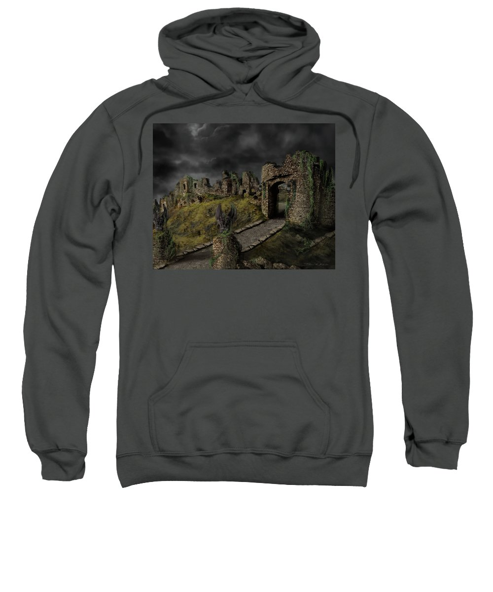 Gothic Sweatshirt featuring the painting Gothic Ruins I by James Christopher Hill