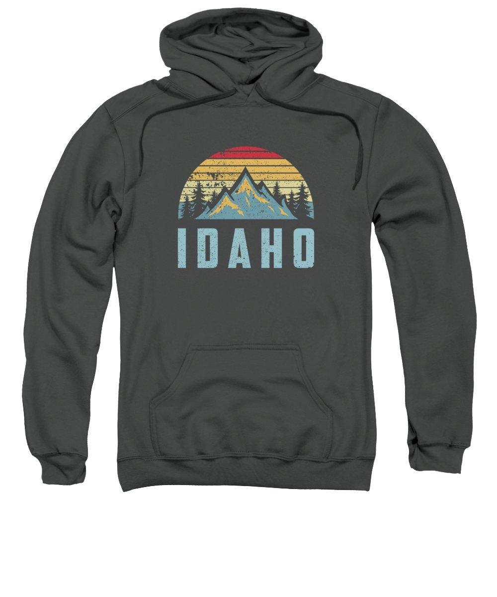 men's Novelty Hoodies Sweatshirt featuring the digital art Idaho Retro Vintage Mountains Hiking Nature Hoodie by Unique Tees