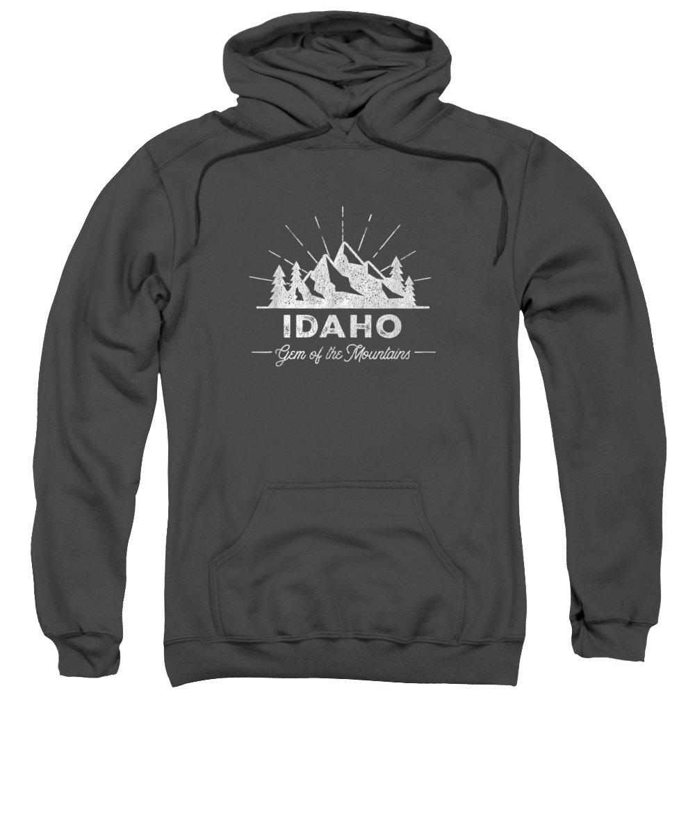 girls' Novelty Clothing Sweatshirt featuring the digital art Idaho T Shirt Vintage Hiking Retro Tee Design by Unique Tees