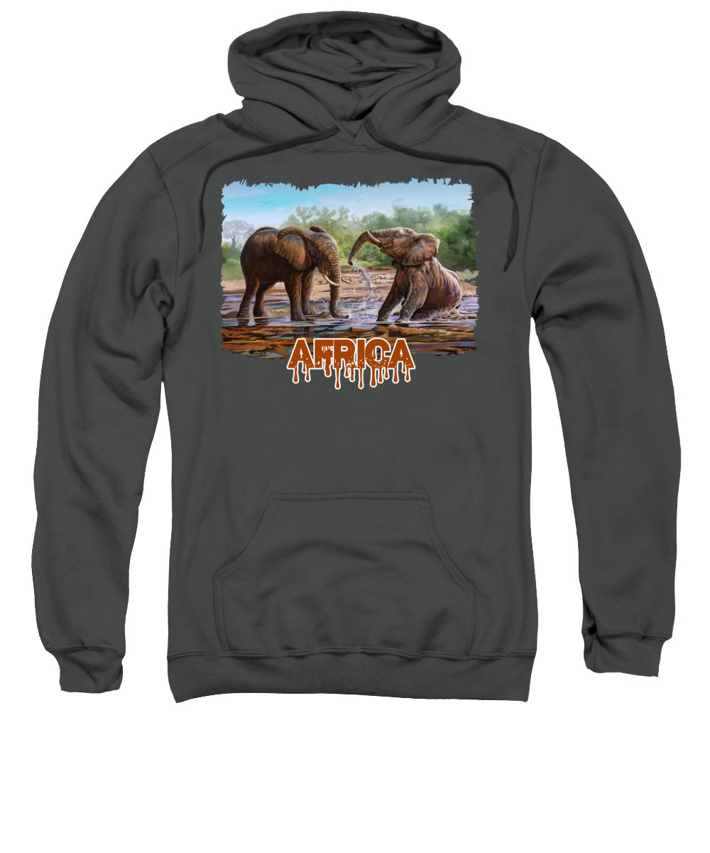 Picture Sweatshirt featuring the painting In The Muddy Pool by Anthony Mwangi