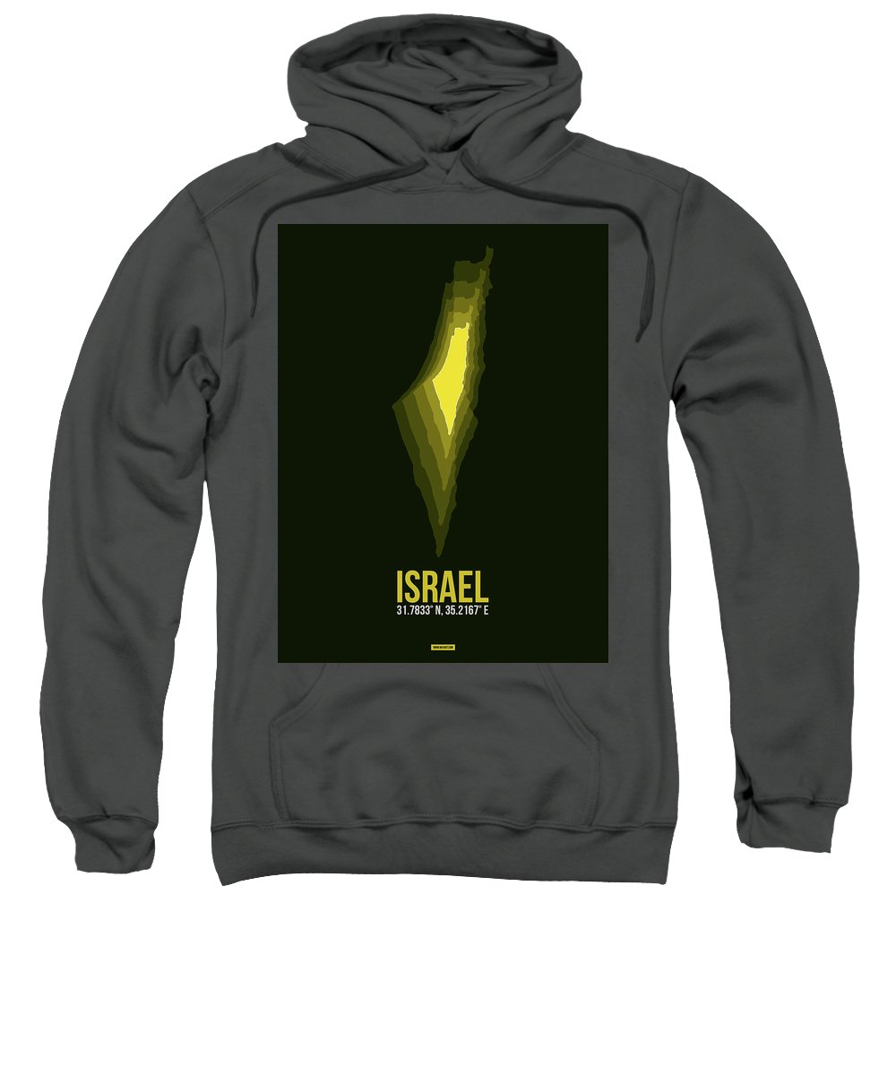 Sweatshirt featuring the digital art Israel Radiant Map 2 by Naxart Studio