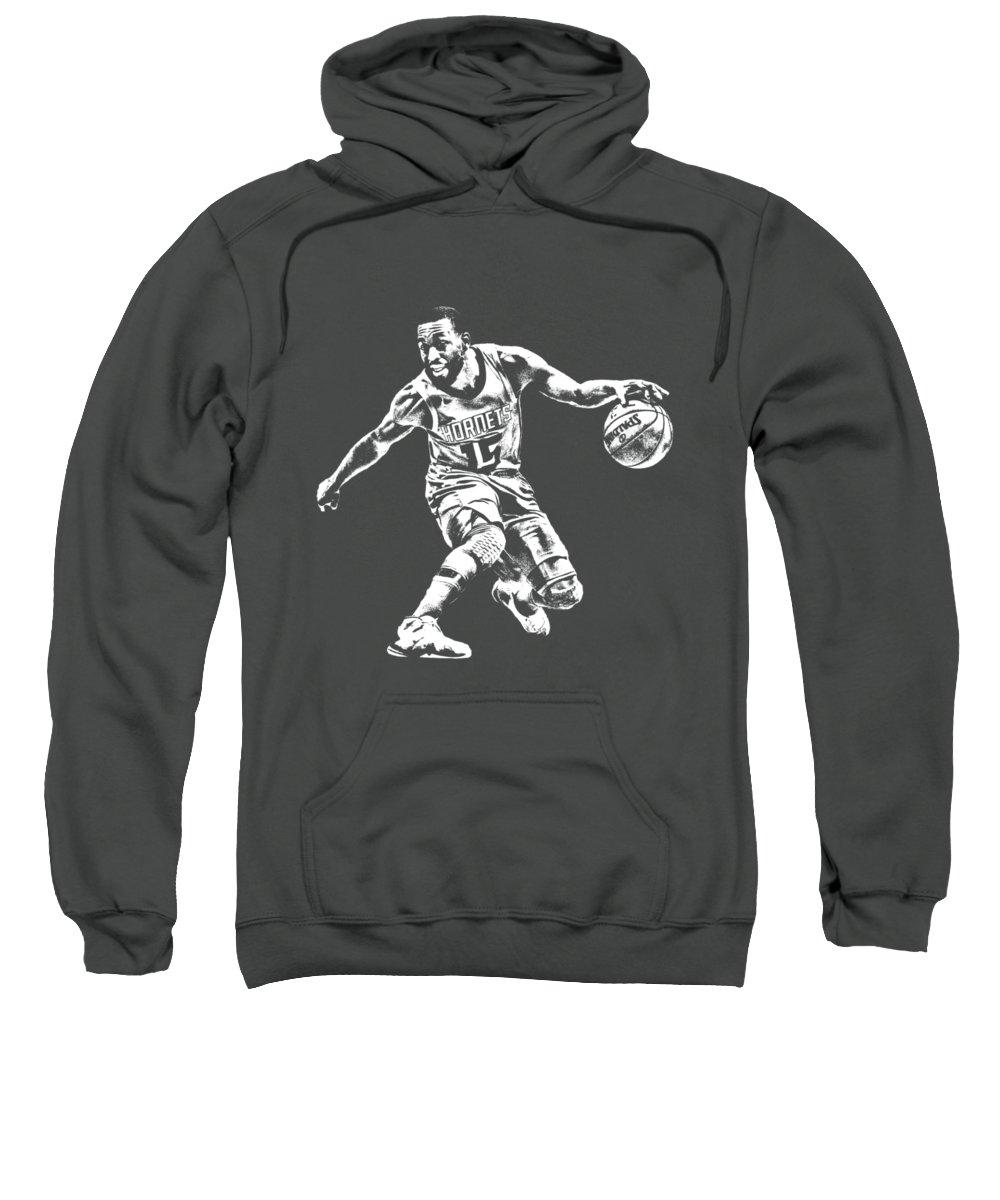 Kemba Walker Sweatshirt featuring the mixed media Kemba Walker Charlotte Hornets T Shirt Apparel Pixel Art 3 by Joe Hamilton