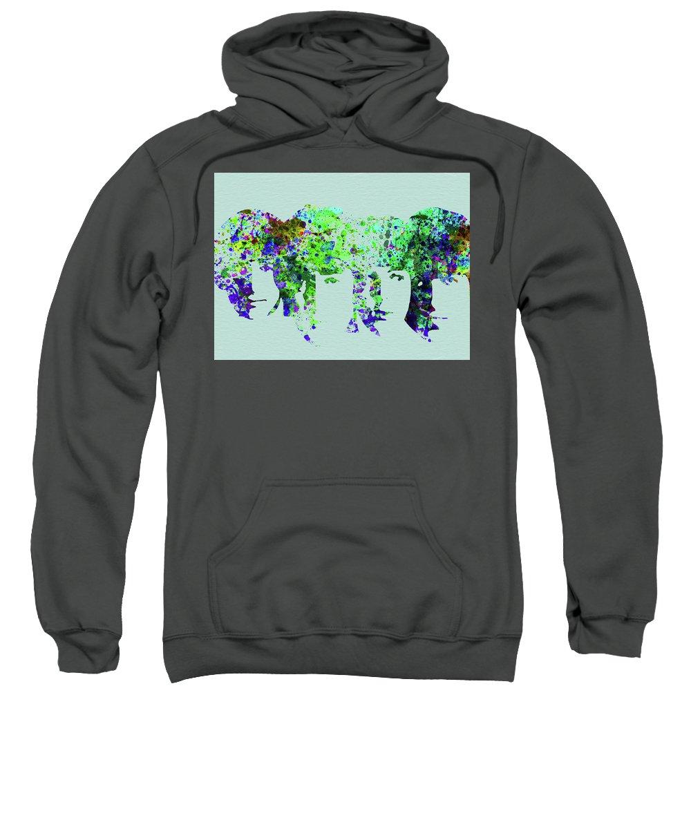 Beatles Sweatshirt featuring the mixed media Legendary Beetles Watercolor II by Naxart Studio
