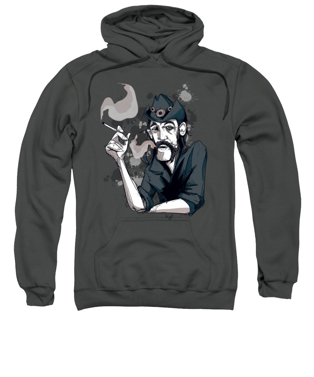 Rock Sweatshirt featuring the drawing Lemmy by Ludwig Van Bacon