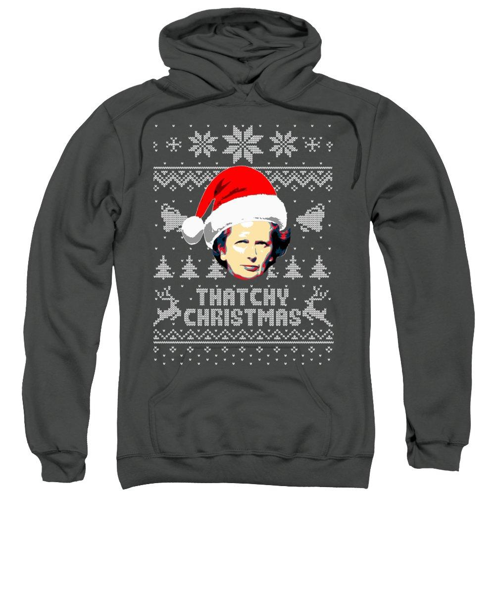 Santa Sweatshirt featuring the digital art Margaret Thatcher Thatchy Christmas by Filip Schpindel