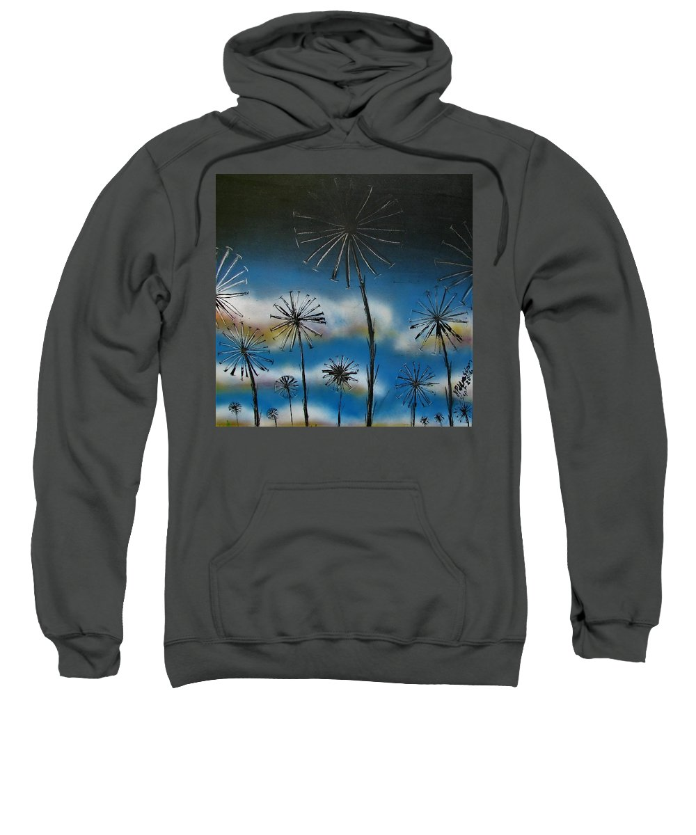 Meadow Sweatshirt featuring the painting Meadow At Dawn by Joan Stratton
